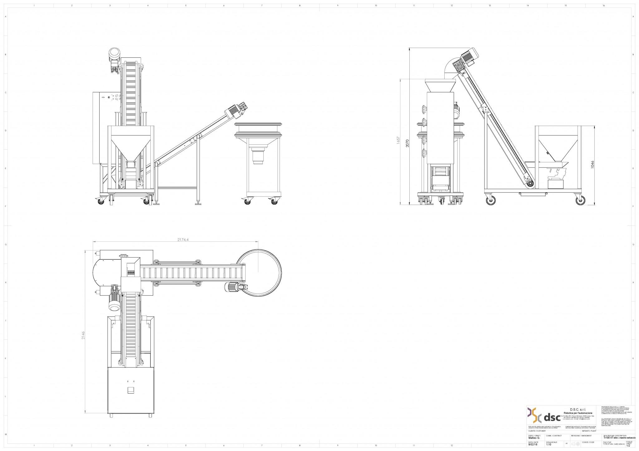 TR100 4T elevatore nastrino setaccio circolare