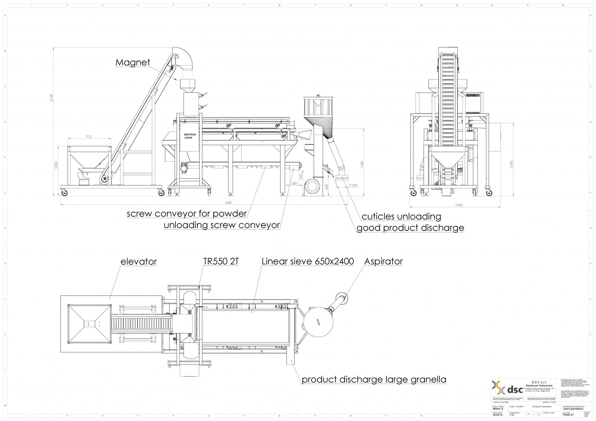 TR550 2T setaccio lineare coclea elevatore aspiratore