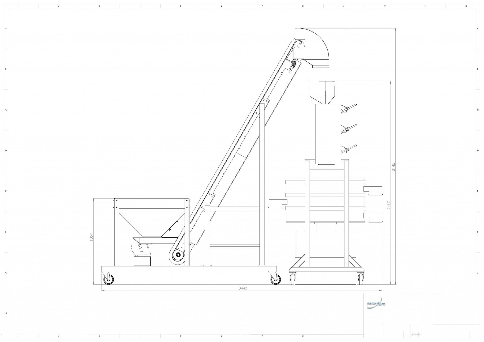 TR450 3T elevatore setaccio cicolare 900mm